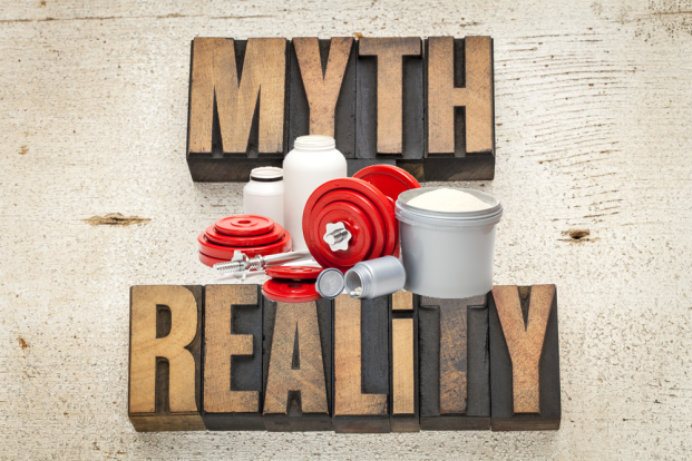 Image of: myth and reality graphic with body building supplements.