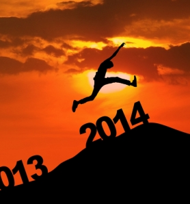 Image of: man taking leap forward from 2013 to 2014.