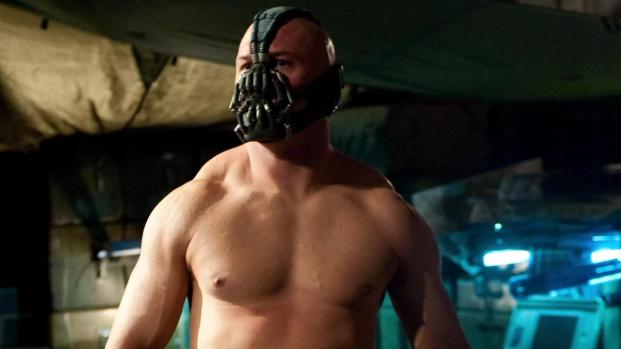 Image of: Tom Hardy as Bane in The Dark Knight Rises - big, bulky, and muscular.